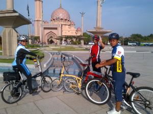 In front of the pink mosque