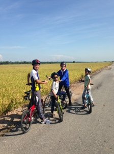 Cycling among paddy fields in Sekinchan