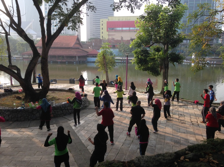 You can join the fun exercising by the lake on Saturday mornings